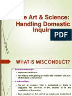 The Art & Science:Handling Domestic Inquiry