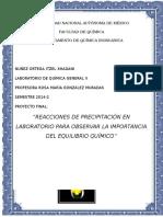 REACCIONES DE PRECIPITACIÓN EN LABORATORIO PARA OBSERVAR LA IMPORTANCIA DEL EQUILIBRIO QUÍMICO