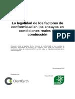 La legalidad de los factores de conformidad en los ensayos en condiciones reales de conducción