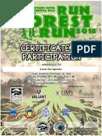 Run Forest Run 2016 Certificate