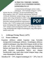 Lect 7 Arbitrage Pricing Theory, Model Empiris, Dan Pengujian Empiris Model Keseimbangan