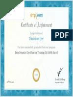 Certificate From Simplilearn