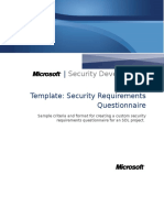 Security Requirements Questionnaire