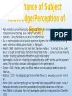 importance of subject knowledge - perception of poetry