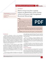 Plavix versus Low Dose Aspirin Impact on Blood Flow of the Uterine Artery in Women with Unexplained Recurrent Miscarriage