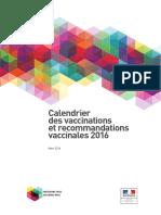 Calendrier des vaccinations et recommandations vaccinales 2016