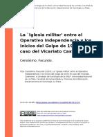 Cersosimo, Facundo (2010). La `Iglesia militar' entre el Operativo Independencia y los inicios d..