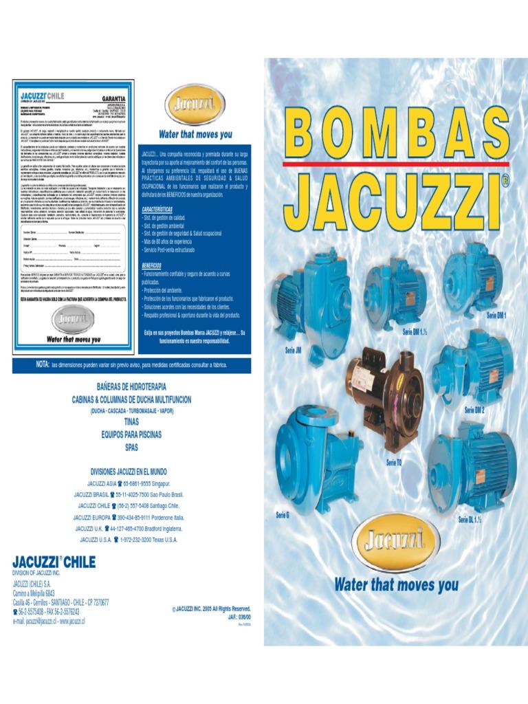 Bombas Jacuzzi Para Piscinas.Manual Motobombas Jacuzzi