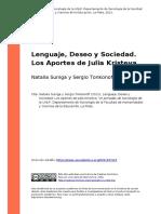 Natalia Suniga y Sergio Tonkonoff (2012). Lenguaje, Deseo y Sociedad. Los Aportes de Julia Kristeva (1)
