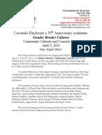 GENDER BENDER Community Cabaret this Sunday April 3rd at Coronado Playhouse