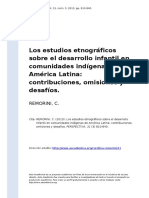 REMORINI, C. (2013). Los Estudios Etnograficos Sobre El Desarrollo Infantil en Comunidades Indigenas de America Latina Contribuciones, Om (..)