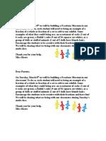parent letter for fractions museum