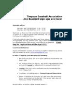 Timpson Baseball Association2016 Sign Up Letter