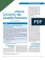 Aspecte Privind Auditarea Estimarilor Din Situatiile Financiare