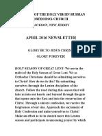 Nativity of the Holy Virgin Church - Newsletter - April, 2016