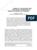 THE CAUSAL ORDER OF JOB SATISFACTION AND ORGANIZATIONAL COMMITMENT IN MODELS OF EMPLOYEE TURNOVER