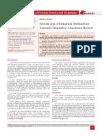 Dental Age Estimation Methods in Forensic Dentistry
