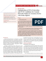 Optimization of DNA Extraction and PCR Conditions for Genetic Diversity Study in Artemisia Herba- Alba from Algeria