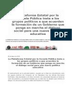 La Plataforma Estatal por la Escuela Pública insta a los Grupos Políticos a que acuerden la formación de un Gobierno que ponga en marcha el diálogo social para una nueva Política Educativa