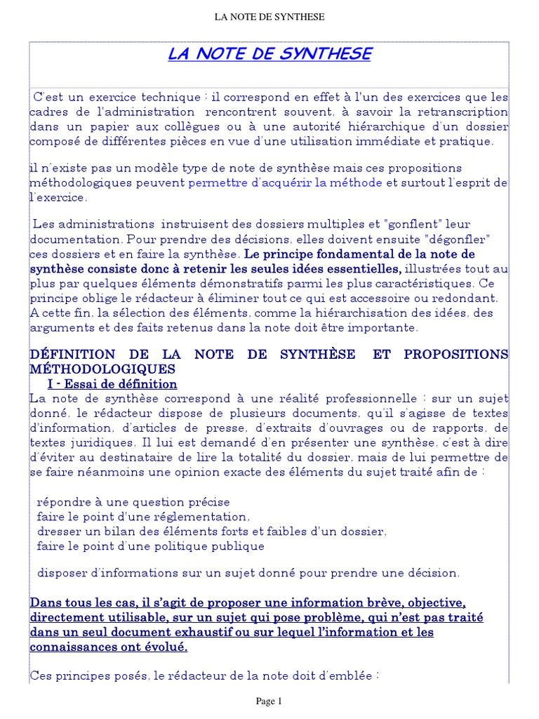 Note Synthese Lecture Processus Objectivite
