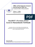 Inspector General Report on MassDOT Free Access to Mass. Toll Roads