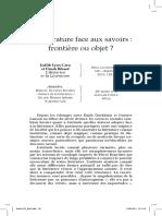 Debaene La littérature face aux savoirs Critique Avril 2011 n°767