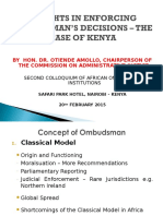 Presentation to Second Colloquium on Enforcement of Ombudsman Decisions