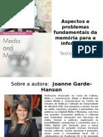 Aula (09 Setembro) – Aspectos e Problemas Fundamentais Da Memória Para a Informação