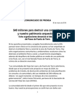 COMUNICADO de PRENSA Paseo Puerta de Tierra 30 de Marzo de 2016