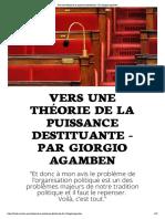 Vers une théorie de la puissance destituante - Par Giorgio Agamben