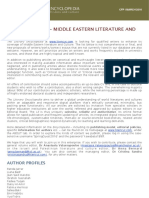 CFP - Middle Eastern Literature and Culture