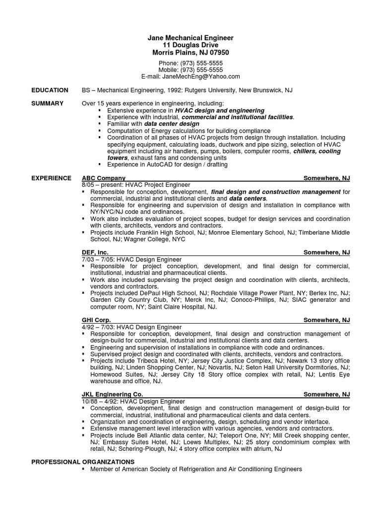 Sample Resume Mechanical Engineer Hvac Data Center