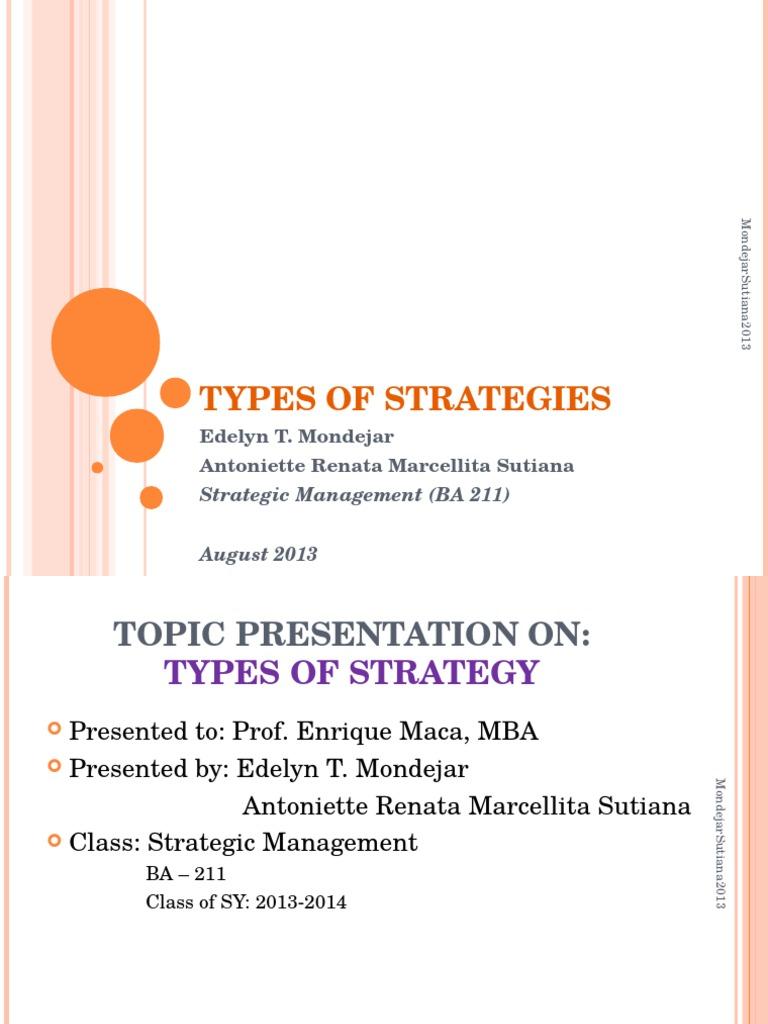 Types of strategies | Diversification (Finance) | Strategic Management