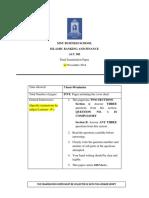 ACC 305 Final Examination Term 2 2014
