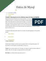 Tipos de Campos en MYSQL 1.1
