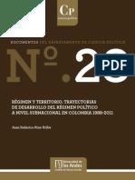 Régimen y territorio. Trayectorias de desarrollo del régimen político a nivel subnacional en Colombia 1988-2011