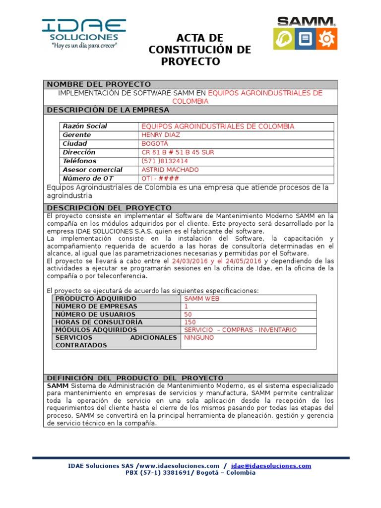 Constitución Equipos Agroindustriales de Colombia