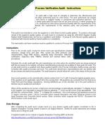 Process Verification Audit Checklist