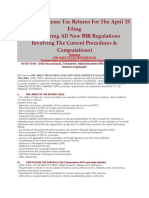 Preparing Income Tax Returns for the April 15 Filing