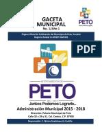 Gaceta Municipal Peto 1 Septiembre 2016