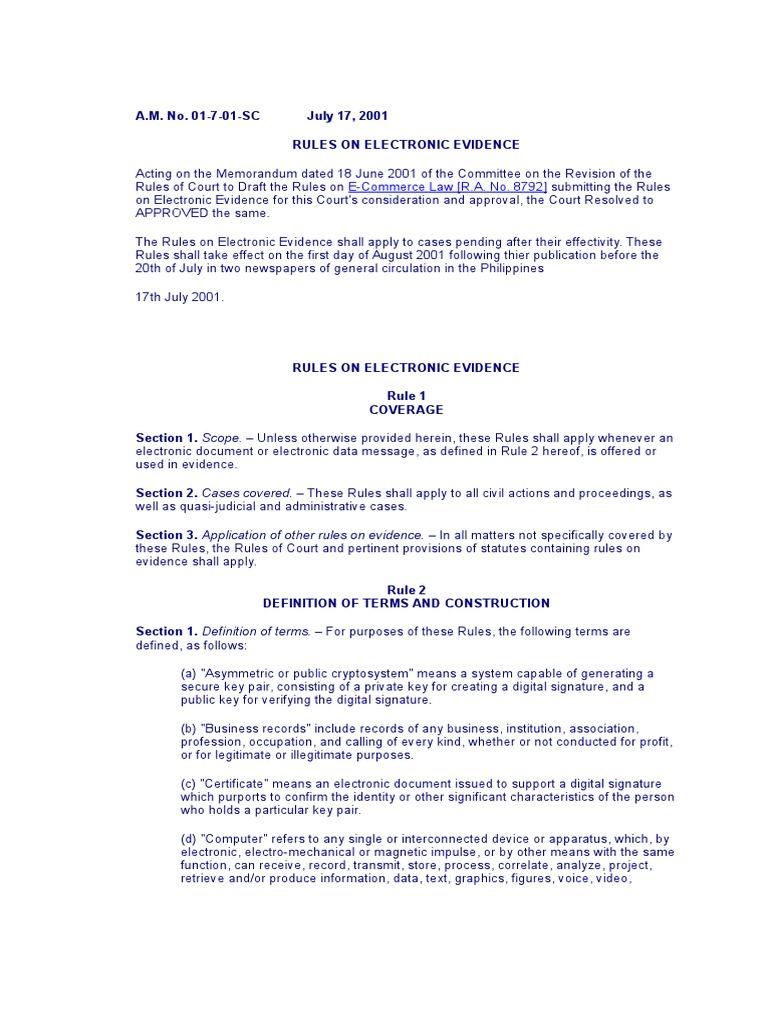 Electronic Evidence Affidavit Public Key Cryptography