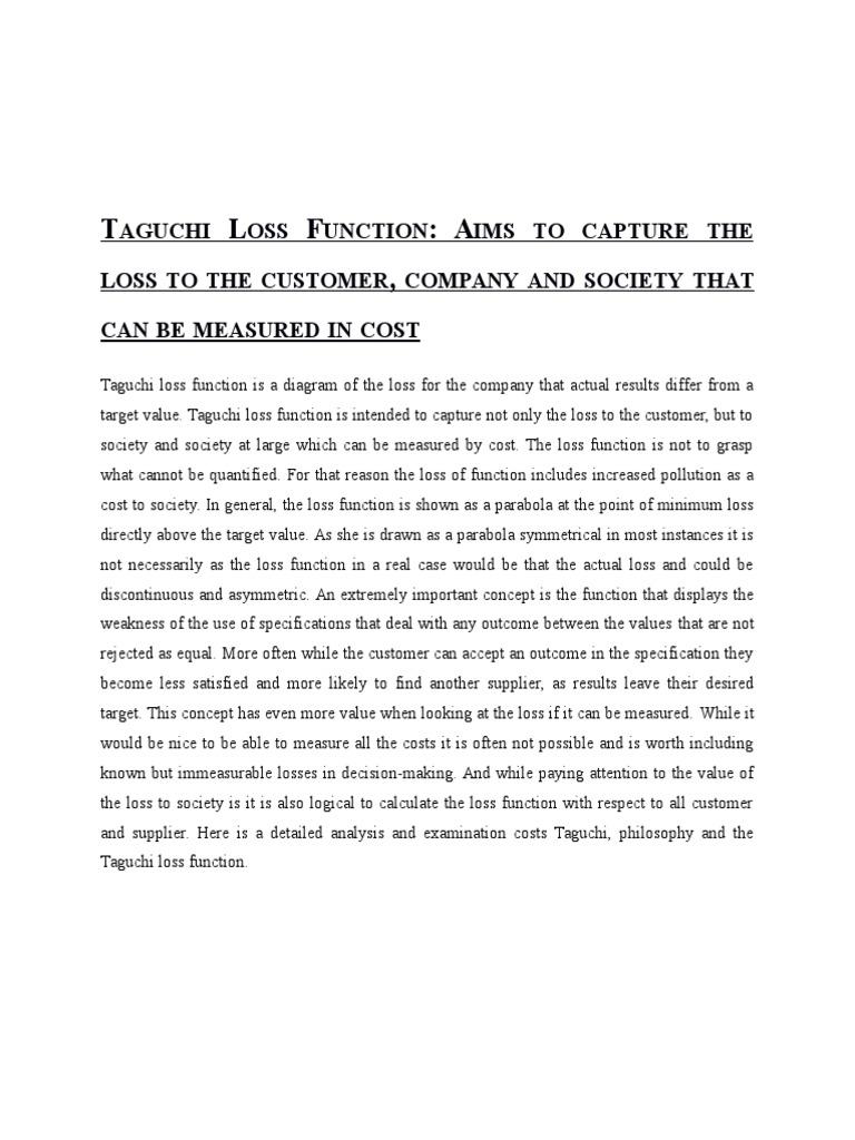Taguchi loss function loss function engineering tolerance pooptronica