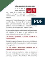 INFORMACIÓN SESIÓN DE PLENO ABRIL 2010