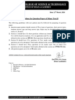 Guidelines of Question Paper Pattern for Minor Test-II
