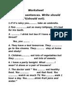 Worksheet should /shouldn't