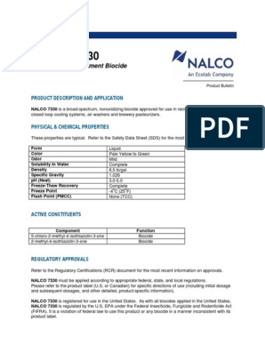 NALCO 7330 Cooling Water Treatment Biocide pdf | Occupational Safety