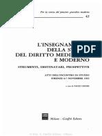 L'Insegnamento Della Storia Del Diritto Medievale e Moderno