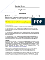 Member Motio n City Counci l Notice of Motio n MM17.9 ACTION  Ward:All  Data regarding deaths in Tor onto's Homeless Community