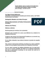 Discurso de Danilo Medina ante la reunión del Comité de la Internacional Socialista