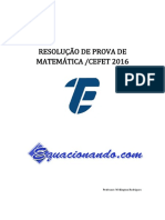 Prova Matemática CEFET 2016 Resolvida